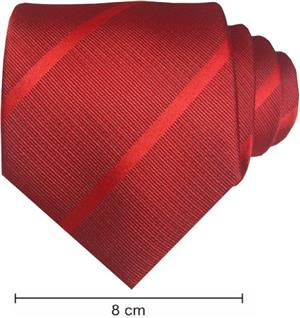 Plain Satin Striped Ties - Red