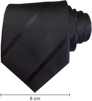 Plain Satin Striped Ties - Black